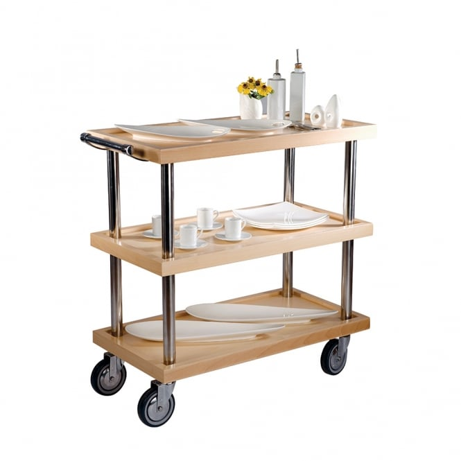 3Tier Service Trolley Natural 85x44x87cm