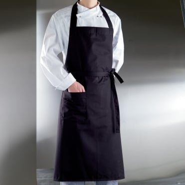 Bibbed Poly Cotton Apron- Black