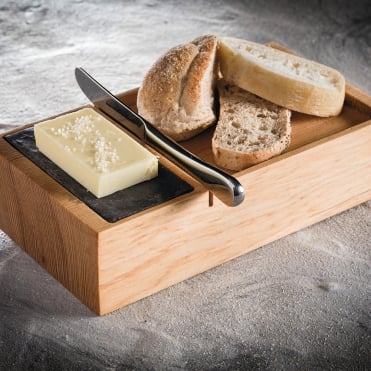 Bread Box with Slate Insert 20x11x5cm