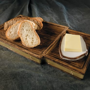 Burnt Oak Bread/Butter Board- Brass Trim