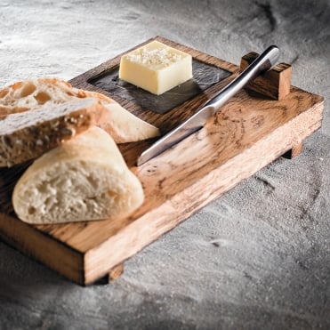 Burnt Oak Bread & Butter Board w/Slate