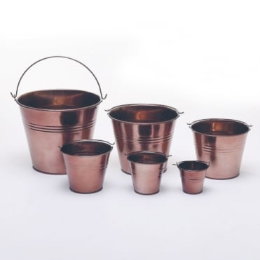 Copper Metal Bucket 12.5cm(h)