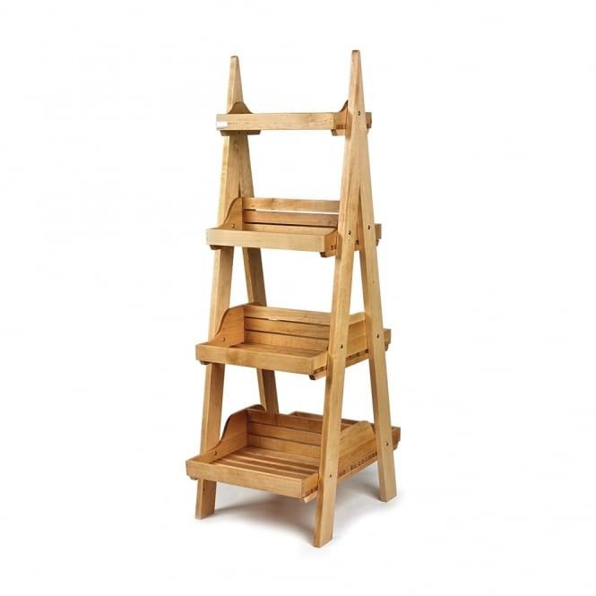 Double Sided 4 Tier Wooden Display Stand