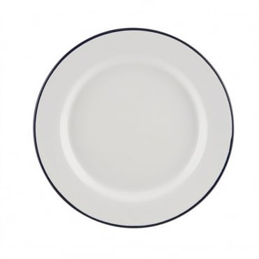 Enamel Wide Rim Plate White/Blue 20cm