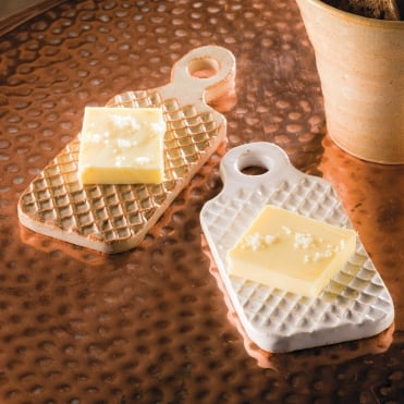 Lattice Butter Pat Rustic White 10x6cm