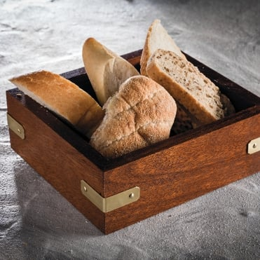 Mahogany Bread Box w/ Brass Trim