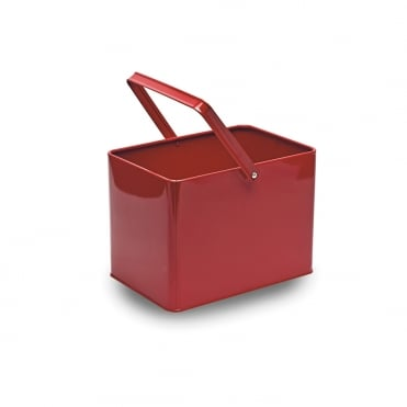 Rectangle Red Metal Bucket 16x22x15cm