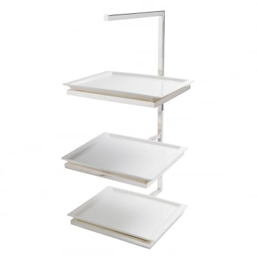 Silver Oblong 3 Tier Tea Stand H52cm