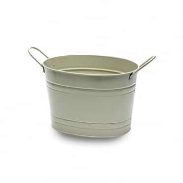 Small French Grey Oval Metal Bucket