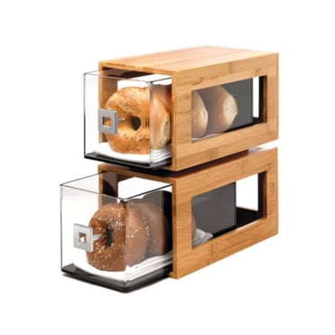 Two-Tier Bamboo Display w/Drawers